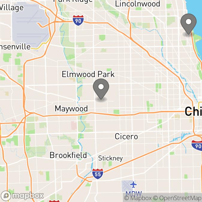 Map in Chicago, Illinois for Annie Duranowski therapy location.