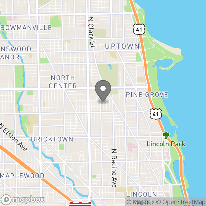 Map in Chicago, Illinois for Erin Braden therapy location.