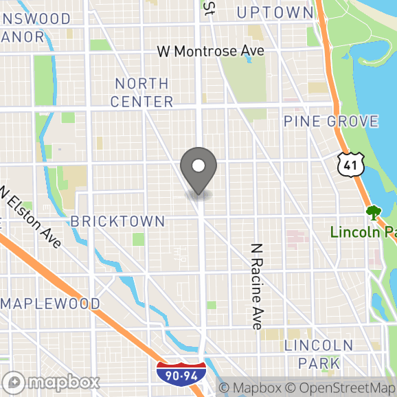 Map in Chicago, Illinois for Bill Singerman therapy location.