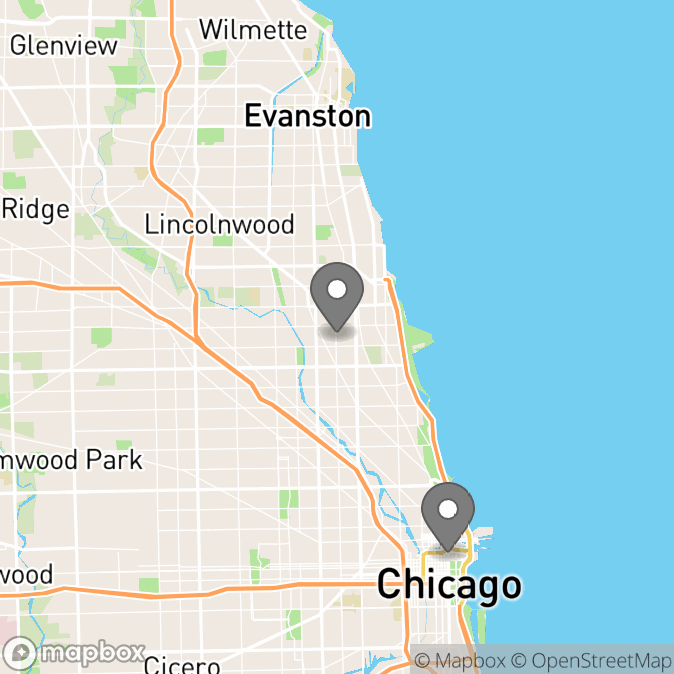 Map in Chicago, Illinois for Rachel Kennedy therapy location.