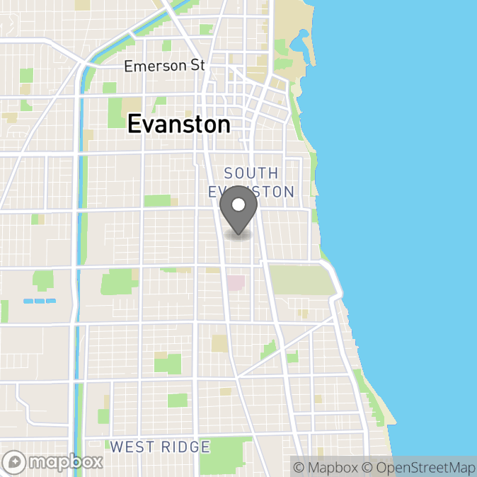Map in Evanston, Illinois for Arielle Drescher therapy location.