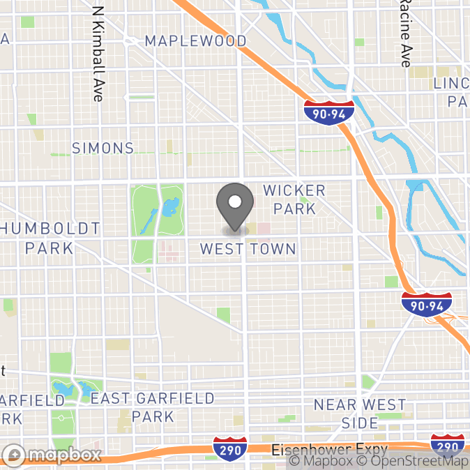 Map in Chicago, Illinois for Sheila Collins therapy location.