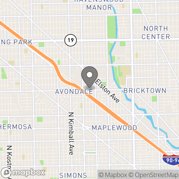 Map in Chicago, Illinois for Maria Perez therapy location.