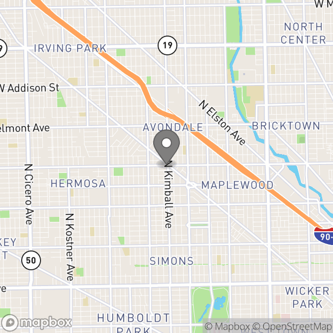 Map in Chicago, Illinois for Keith Harris therapy location.