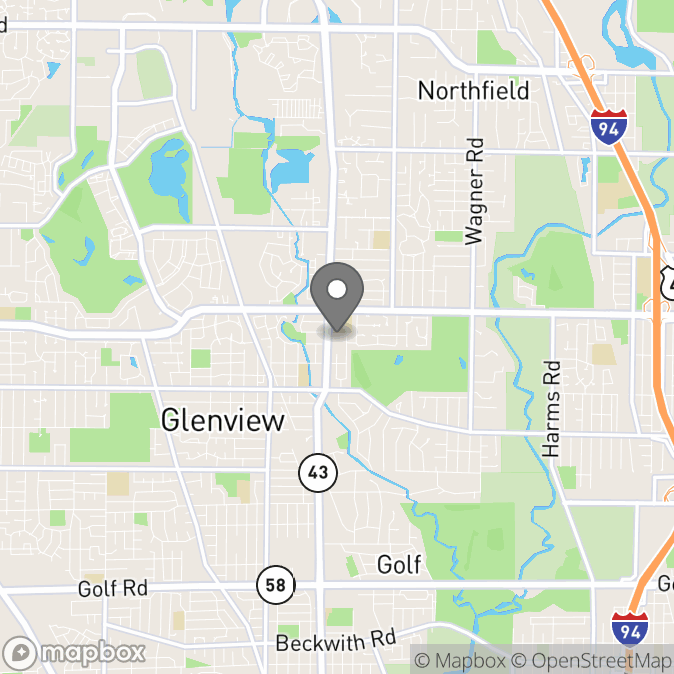 Map in Glenview, Illinois for Erica Leibrandt therapy location.