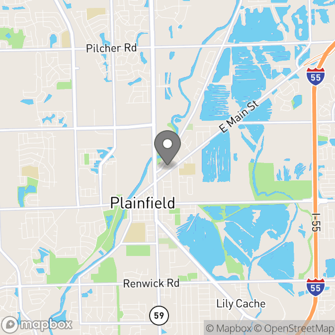 Map in Plainfield, Illinois for Amy Dye therapy location.