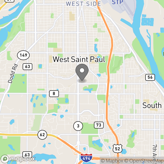 Map in Saint Paul, Minnesota for Maggie Skrypek therapy location.
