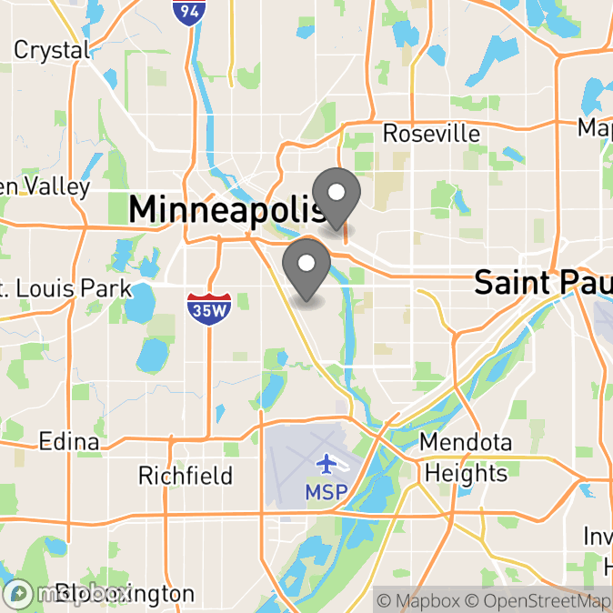 Map in Minneapolis, Minnesota for Jane Frick therapy location.