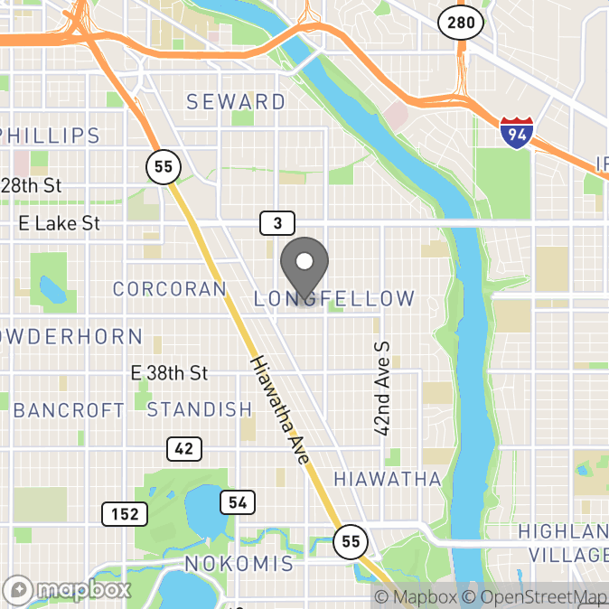 Map in Minneapolis, Minnesota for Sarah Donovan therapy location.