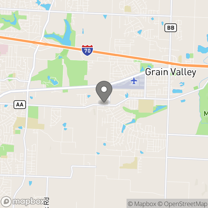Map in Grain Valley, Missouri for Melissa Winston therapy location.
