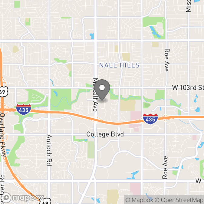 Map in Shawnee Mission, Kansas for Melanie Bettes Hite therapy location.