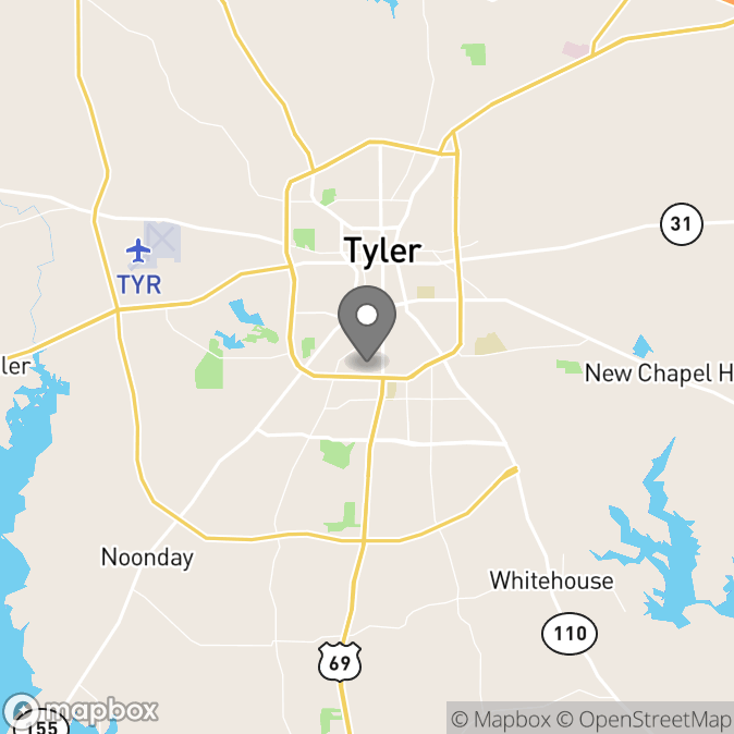 Map in Tyler, Texas for Ashlea  Perkins therapy location.