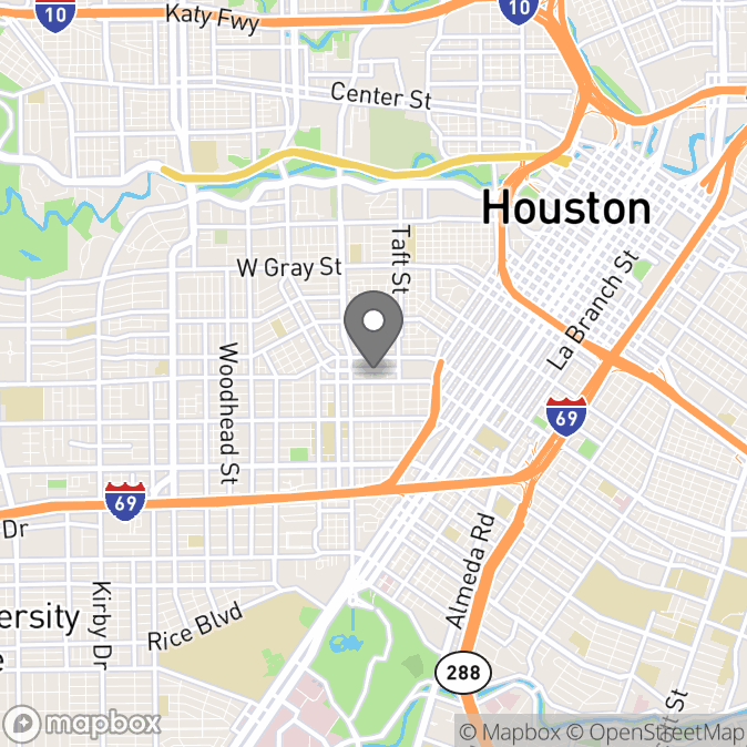 Map in Houston, Texas for Anne Slater therapy location.