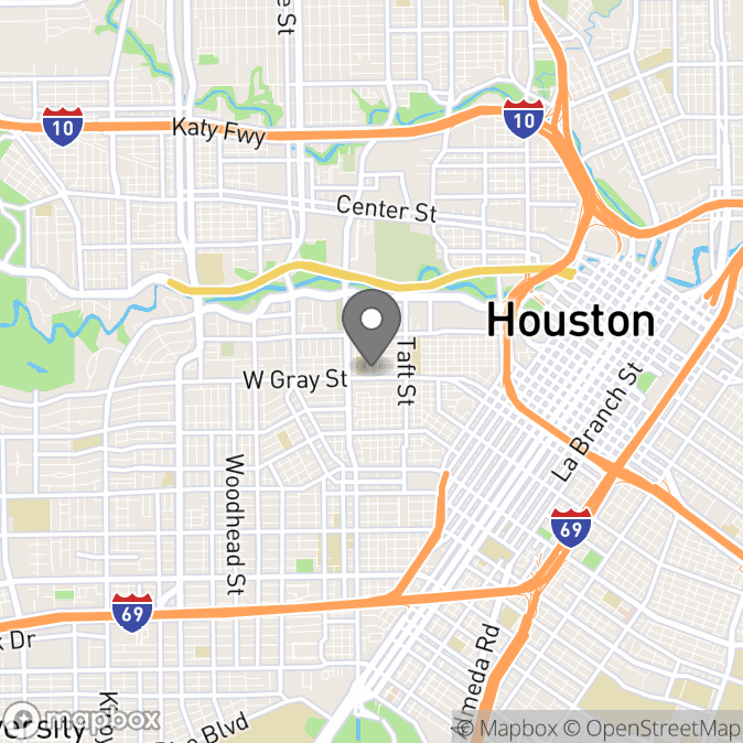Map in Houston, Texas for Alexandra Marshall therapy location.