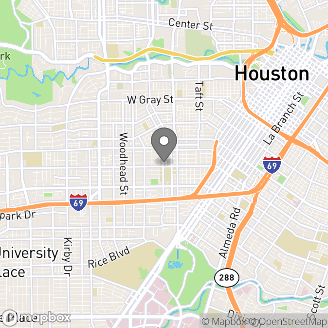 Map in Houston, Texas for Sarah Bond therapy location.