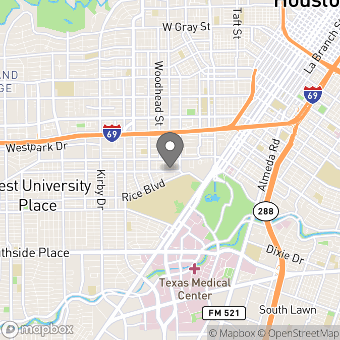 Map in Houston, Texas for Anna Hope therapy location.