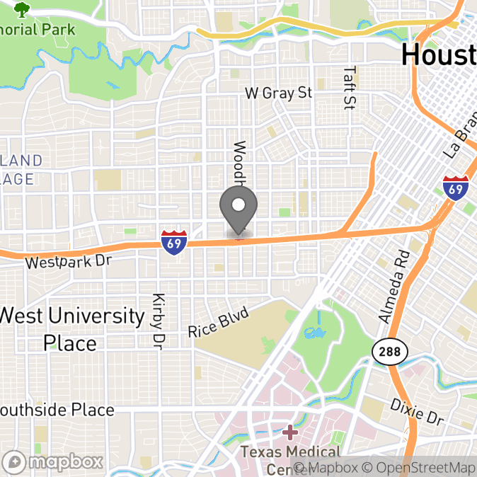 Map in Houston, Texas for Thelma Jean Goodrich therapy location.