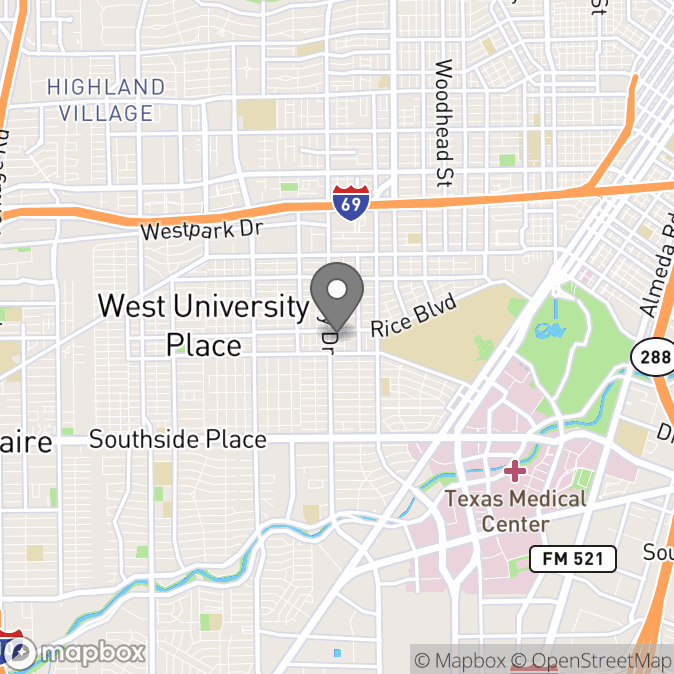 Map in Houston, Texas for Helen Godfrey therapy location.