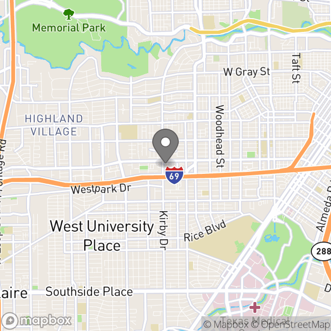 Map in Houston, Texas for Cortnee White therapy location.