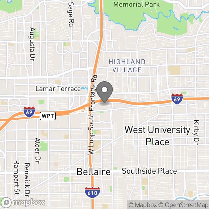 Map in Houston, Texas for Daniel Katz therapy location.