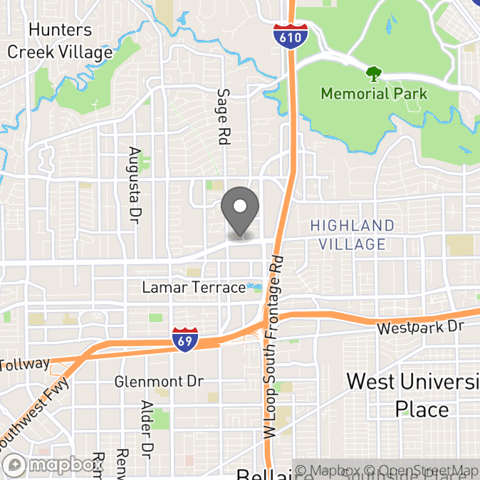 Map in Houston, Texas for Dr. Zenaida Woods, Ed.D, LPC, CCTSI therapy location.