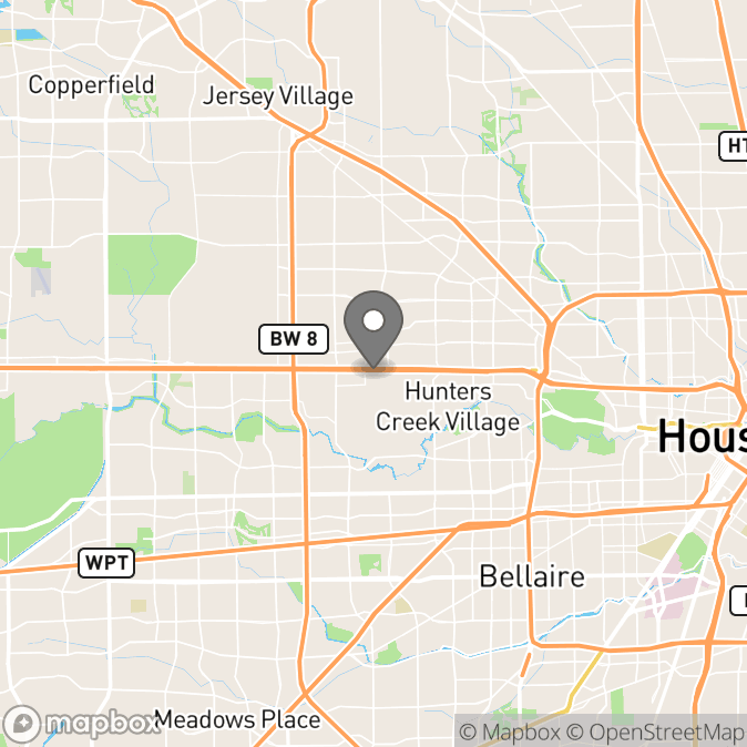 Map in Houston, Texas for Ehrin Weiss therapy location.
