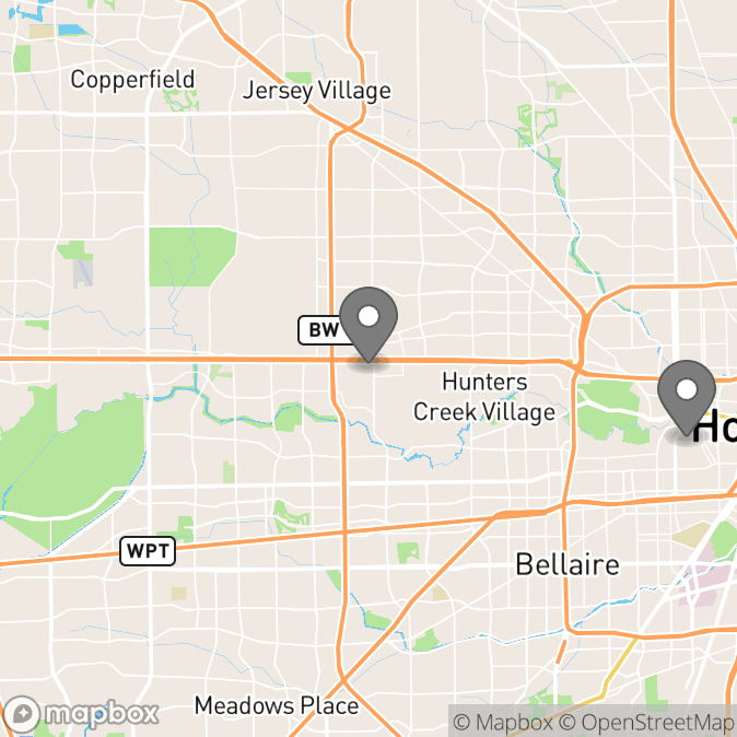 Map in Houston, Texas for Hillery Jones therapy location.