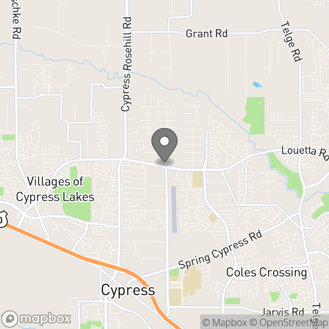 Map in Cypress, Texas for Mike Hodson therapy location.
