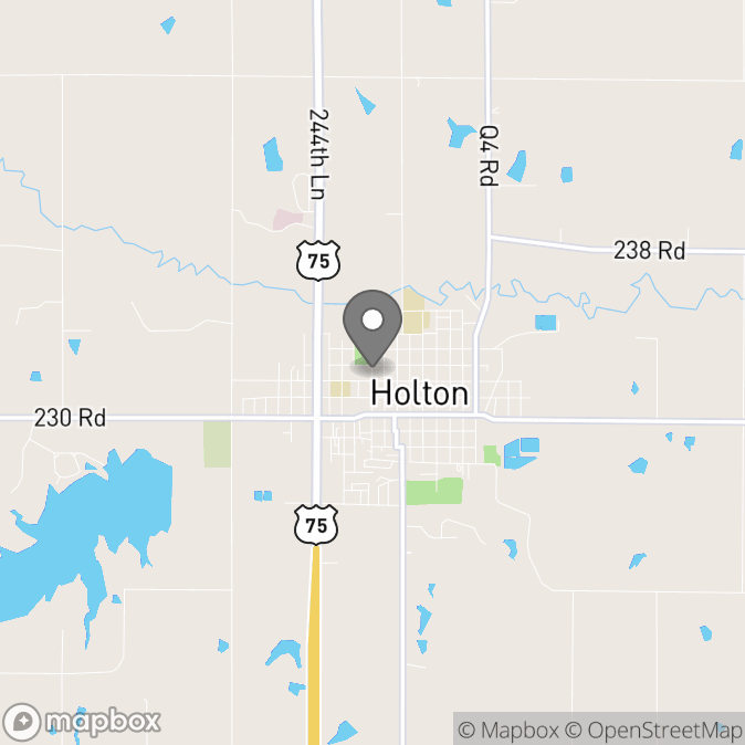 Map in Holton, Kansas for Jessica Snyder therapy location.