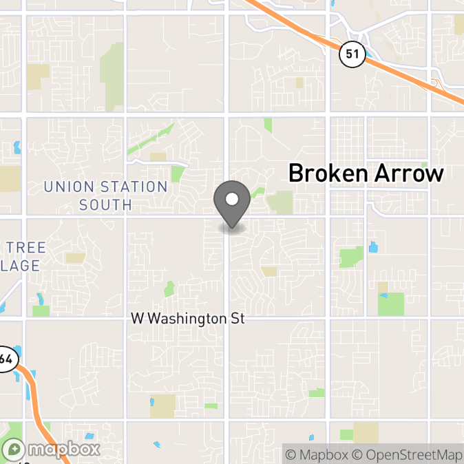 Map in Broken Arrow, Oklahoma for Shatoria Crowley therapy location.
