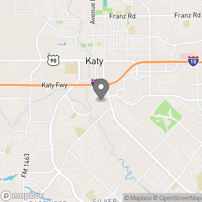 Map in Katy, Texas for Jamie Williams therapy location.