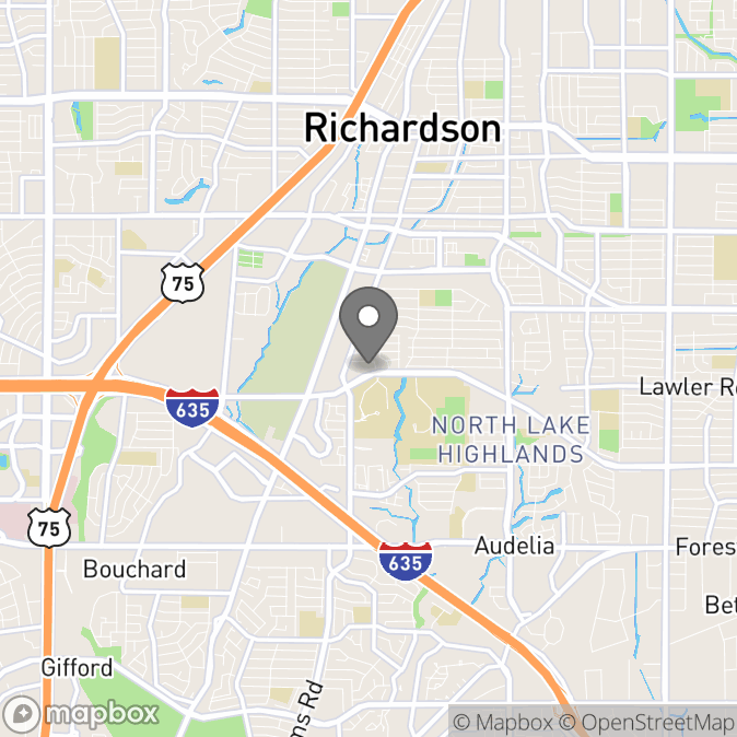 Map in Richardson, Texas for Jeremy Cooper therapy location.