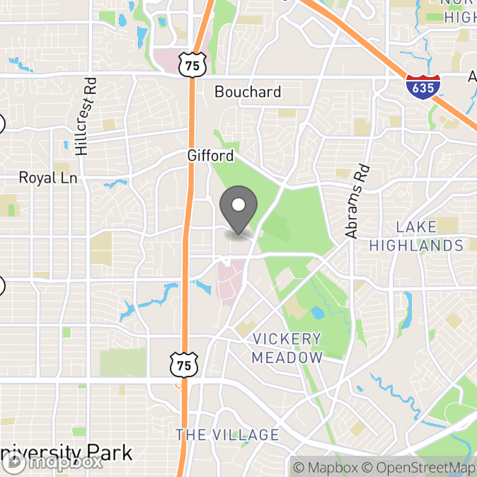 Map in Dallas, Texas for Sarah Gates therapy location.