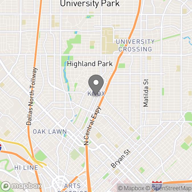 Map in Dallas, Texas for Kristin  Smart therapy location.
