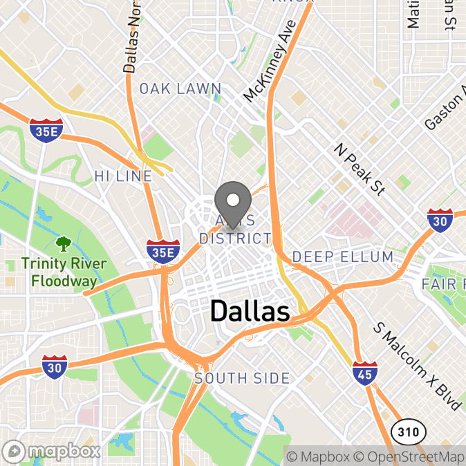 Map in Dallas, Texas for Jeremy Fusco therapy location.