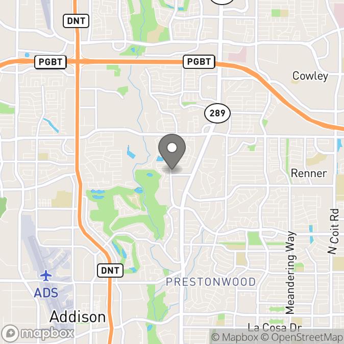 Map in Dallas, Texas for Casey Leamy therapy location.