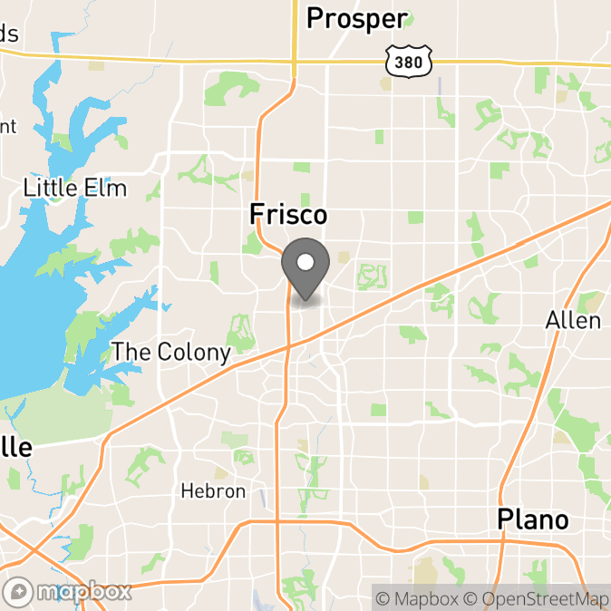 Map in Frisco, Texas for Kelly  Couture, LPC-S therapy location.