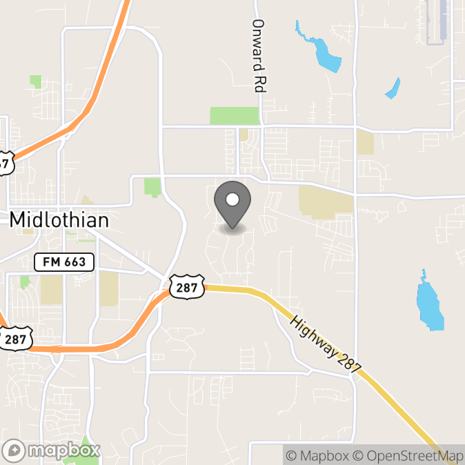 Map in Midlothian, Texas for Amy Barton therapy location.