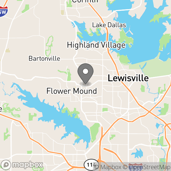 Map in Flower Mound, Texas for Trish Bertrand therapy location.