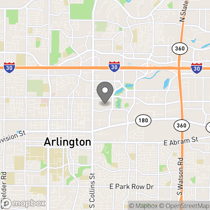 Map in Arlington, Texas for Carissa Toviessi therapy location.