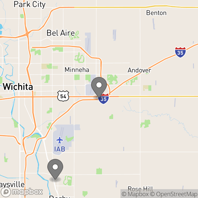 Map in Wichita, Kansas for Courtney Neal therapy location.
