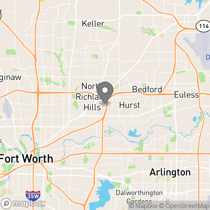 Map in North Richland Hills, Texas for Trish Bertrand therapy location.