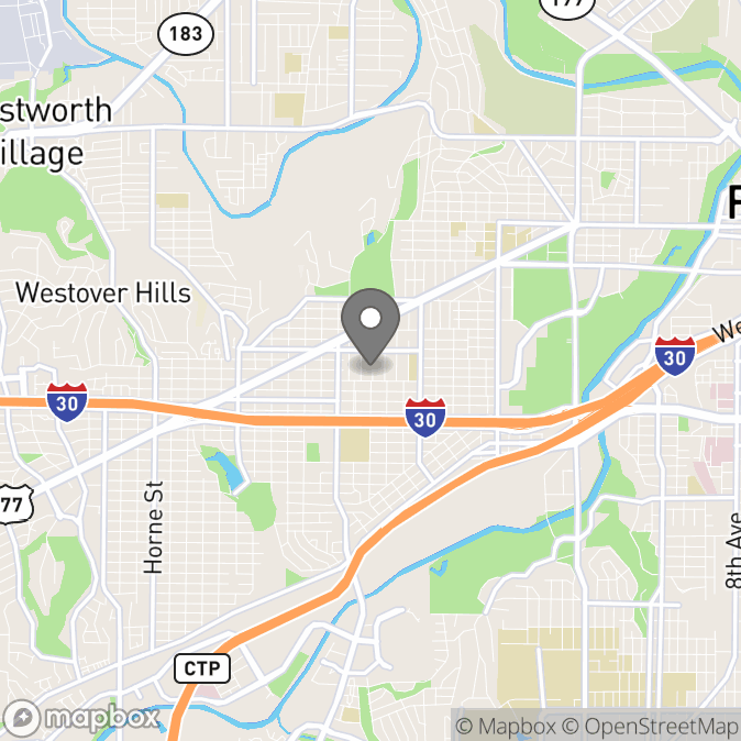 Map in Fort Worth, Texas for Paul Toviessi therapy location.