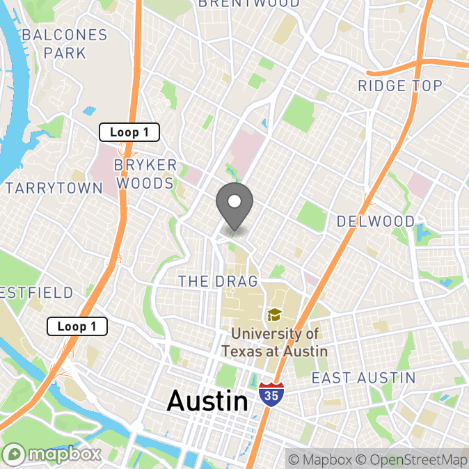 Map in Austin, Texas for Elaine Yip therapy location.