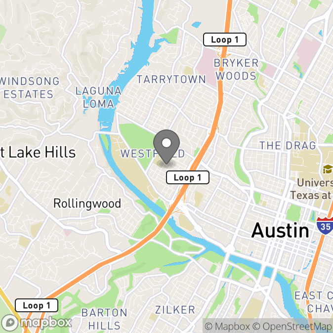 Map in Austin, Texas for Jennifer Braafladt therapy location.