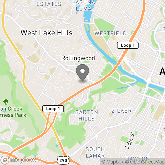 Map in Austin, Texas for Ellen Pace therapy location.