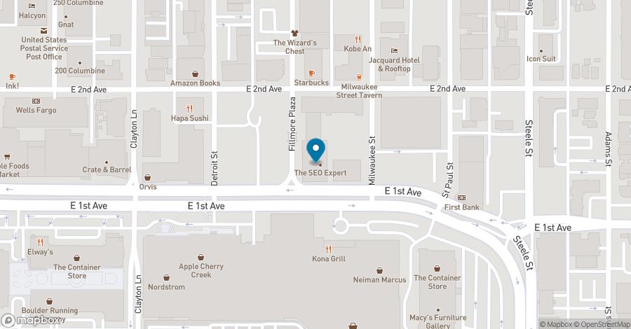 Map of 100 Fillmore Street in Denver
