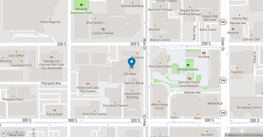 Map of 222 S Main Street in Salt Lake City