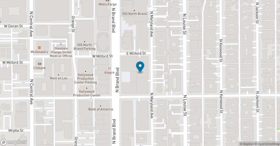 Map of 450 North Brand Blvd in Glendale