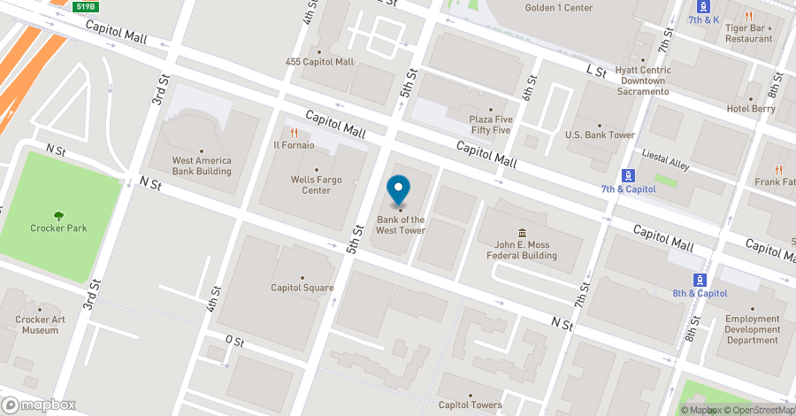 Map of 500 Capitol Mall in Sacramento